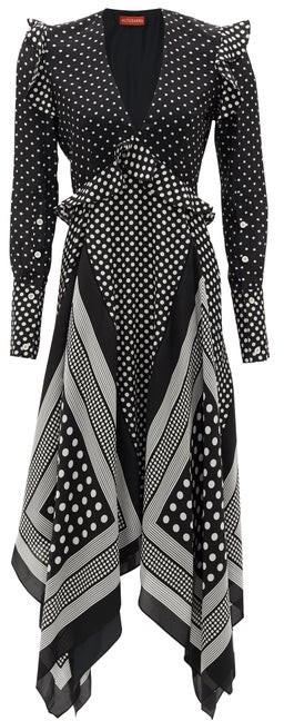 Altuzarra Bayview Handkerchief-hem Polka-dot Silk Midi Dress - Black White