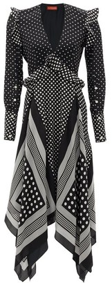 Altuzarra Bayview Handkerchief-hem Polka-dot Silk Midi Dress - Black White