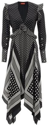 Altuzarra Bayview Handkerchief-hem Polka-dot Silk Midi Dress - Womens - Black White