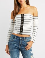 Charlotte Russe Striped Off-The-Shoulder Hook-And-Eye Top