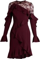 Elie Saab Lace-insert ruffle-trimmed dress