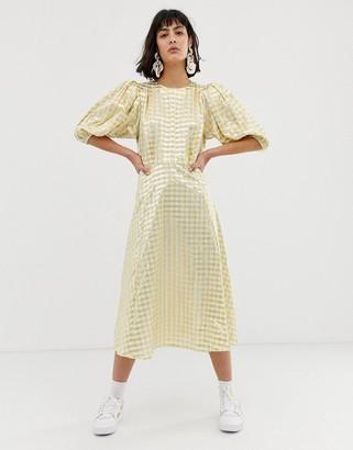 ASOS metallic gingham midi dress