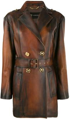 Versace belted distressed-leather coat
