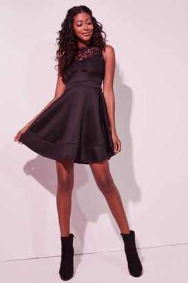Ardene Sleeveless Scuba Skater Dress with Lace