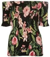 Dorothy Perkins Womens Black Tropical Print Shirred Bardot Top