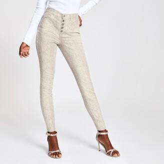 River Island Womens Beige snake print Hailey high rise jeans