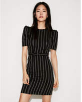 Express petite striped puff shoulder dress