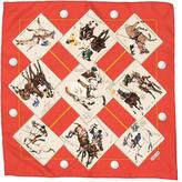 Hermes Le Monde Du Polo Silk Pocket Square