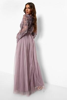 boohoo Bridesmaid Hand Embellished Long Sleeve Maxi