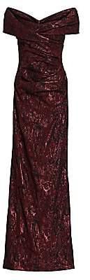 Teri Jon by Rickie Freeman Women's Off-The-Shoulder Metallic Jacquard Gown