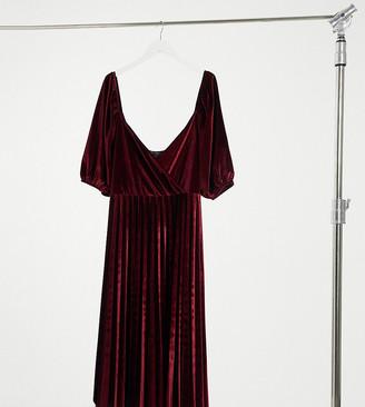 ASOS DESIGN Curve puff sleeve velvet wrap pleat midi dress in oxblood