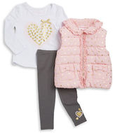 Flapdoodles Girls 2-6x Polka Dot Vest, Graphic Tee and Leggings Set