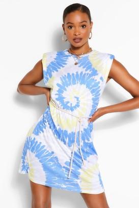 boohoo Padded Shoulder Tie Dye T-Shirt Dress