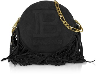 Balmain Suede, Leather and Fringes 18 Disco Bag
