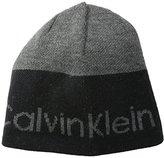 Calvin Klein Men's Logo Striped Reversible Beanie