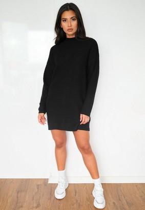 Missguided Petite Black Rib Knit High Neck Sweater Dress