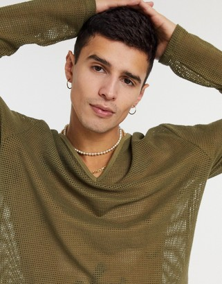 ASOS DESIGN super longline long sleeve t-shirt with deep v-neck in green mesh