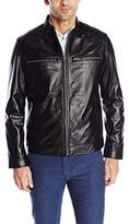 Cole Haan Men's Smooth Lamb Skin Moto Leather Jacket