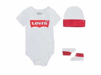 Levi's Kids Classic Batwing Infant Hat Bodysuit Bootie Set 3Pc Baby and Toddler Footie Baby Girls White 0-6 Months