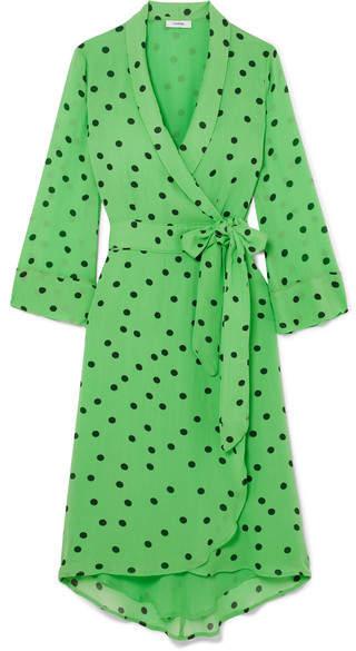 Ganni Polka-dot Georgette Wrap Dress - Green