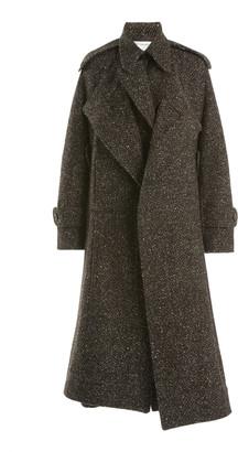 Victoria Beckham Herringbone Wool-Blend Cape Coat