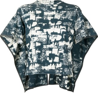 Céline Pre-Owned Abstract Print Cape-Style Top