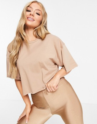 ASOS DESIGN boxy crop t-shirt with raw edge in tan