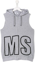 MSGM logo print sleeveless hoodie - kids - Cotton - 14 yrs