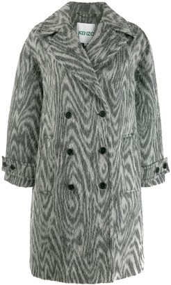 Kenzo Zebra-Print Double-Breasted Coat