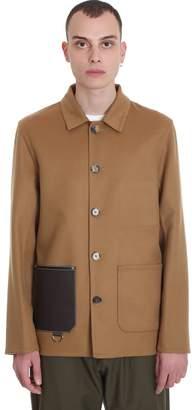 Loewe Jacket In Leather Color Wool