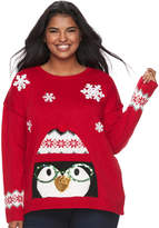 It's Our Time Junior's Plus Size Light-Up Penguin Holiday Sweater