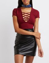 Charlotte Russe Plunging Lace-Up Tank Top