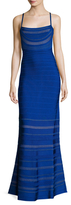 Herve Leger Striped Cut Out Strap Gown