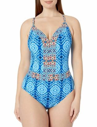 Bleu Rod Beattie Bleu | Rod Beattie Women's Plus-Size Mykonos Printed Plunge Cross Back Mio One Piece Swimsuit