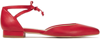 French Sole Penelope Cutout Leather Point-toe Flats