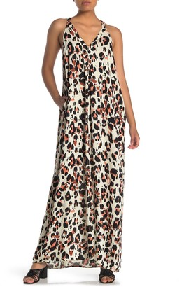 Love Stitch V-Neck Racerback Leopard Print Maxi Dress