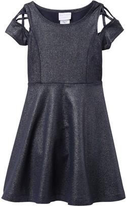 Iris & Ivy Short Sleeve Foiled Skit Skater Dress (Big Girls)