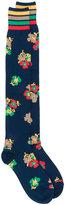 Sacai long floral border print socks - women - Cotton - One Size