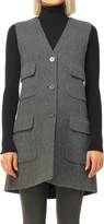 Max Studio Heather Doubleweave Twill Elongated Vest