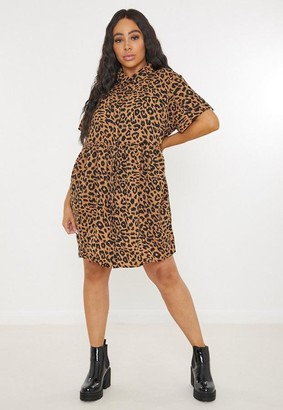 Missguided Plus Size Brown Leopard Print Smock Dress