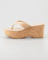 Jimmy Choo Pathos Patent Leather Cork Sandal, Nude