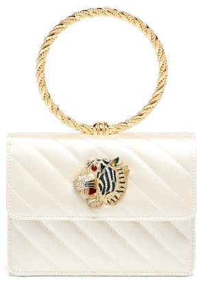 Gucci Broadway Tiger-embellished Quilted-satin Clutch - Womens - Ivory