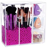Langforth Brush Holder Lipstick Puff Drawer Dustproof Box Premium Quality 5mm Thick Makeup Acrylic Organizer Cosmetic Storage Display All In One Case Lid With Free Rosy Pearl