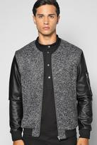 Boohoo Smart Ma1 Bomber With Pu Sleeves And Zip Detail