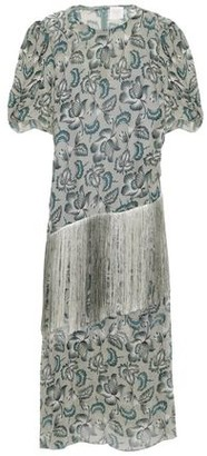 Anna Sui Fringed Printed Georgette Midi Dress