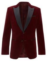 HUGO BOSS - Slim Fit Jacket With Silk Peak Lapels - Dark Red