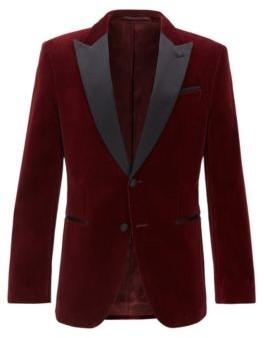 HUGO BOSS Slim Fit Jacket With Silk Peak Lapels - Dark Red