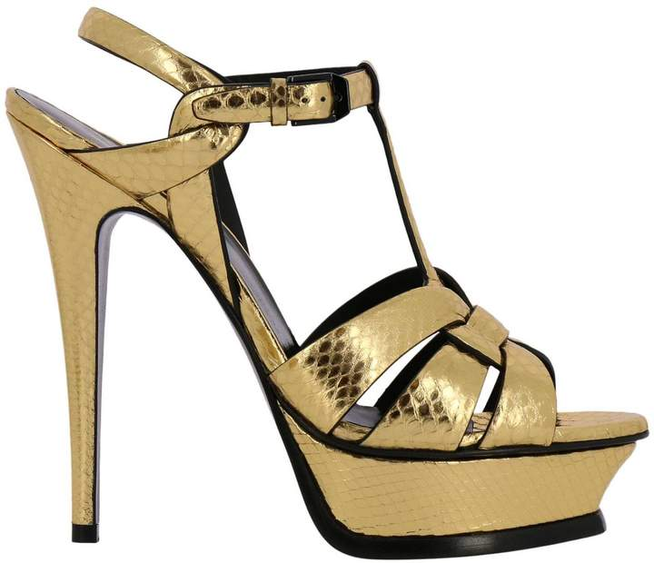 Saint Laurent Heeled Sandals Tribute Sandal In Laminated Leather With Python Print And Plateau
