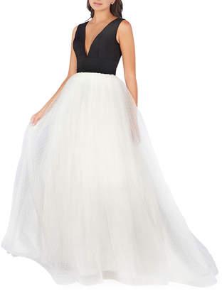 Mac Duggal Deep V-Neck Empire-Waist Sleeveless Gown