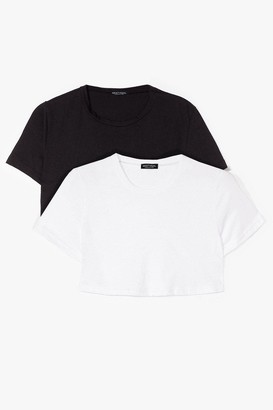 Nasty Gal Womens Start With the Basics 2-Pc Cropped Tees - Blackwhite